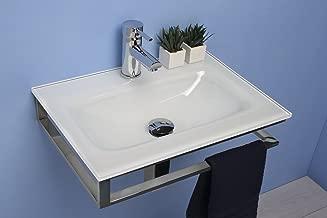 Muebles Ba/ño Lavabo//Lavamano//lavabo de cristal extrachiaro blanco de cm 60 con soporte inoxidable