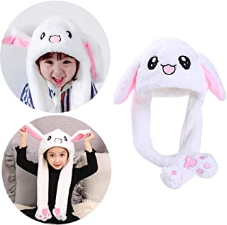 Animal Hat Ear Moving Easter Costume Hat Funny Bunny Plush Hat Cap for Women Girls