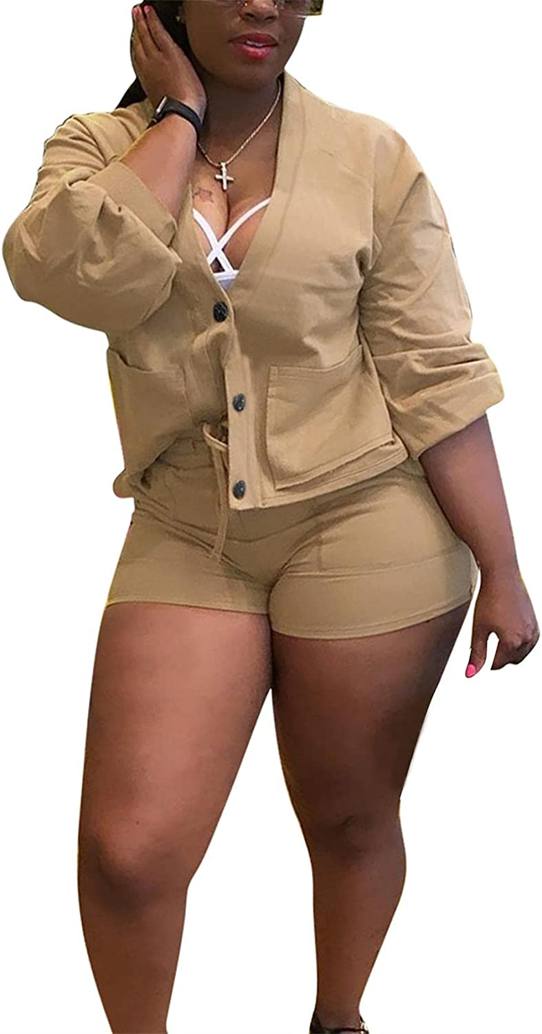Women's 2 Piece Outfits Solid Buttons Pockets Jacket Coat and Bodycon Shorts Casual Tracksuit Set