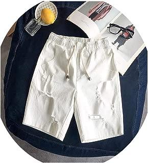 Men Cotton Elastic Waist Denim Shorts Summer Hole Large Size Loose Casual M