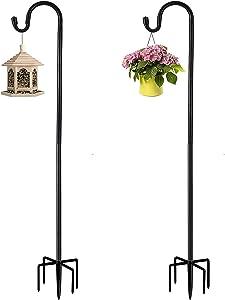 Outdoor Shepherds Hook with 5 Prong Bases, Black, 2 Packs, 36 inches Tall, Garden Hanging Stake for Bird Feeder, Solar Light, Plant Hanger, Wedding Decor, Metal Hanger Hooks