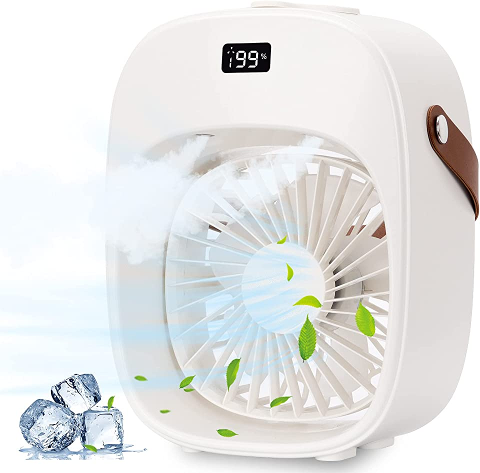 Portable Air Conditioner Fan,mini air conditioner with 3600mAh/Night light,Personal Air Cooler 3 Speeds/2 Mist/600ml Water TankLCD Display for Home Office Bedroom and Outdoor