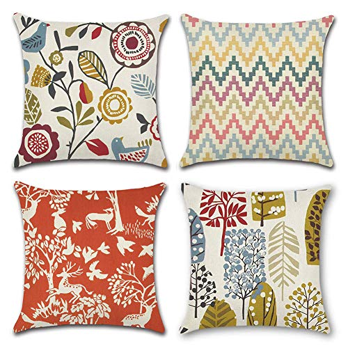 Gspirit 4 Pack Animal Ramas Algodón Lino Throw Pillow Case Funda de Almohada para Cojín 45x45 cm
