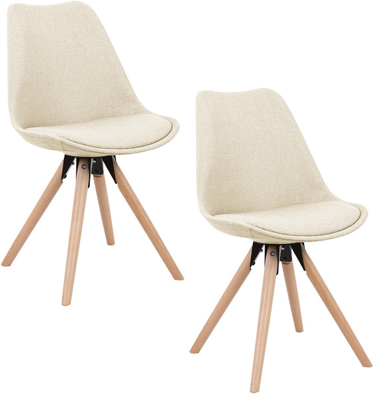 SAILUN 2 x Esszimmerstuhl Wohnzimmerstuhl Bürostuhl Küchenstuhl, Gepolstert mit Massivholz Eiche Bein (F Type, Beige)