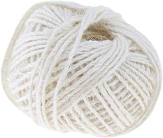 SGerste 50 Metre 2mm Color Natural Jute Rope Twine String Cord Rope DIY Craft String, Strong - White