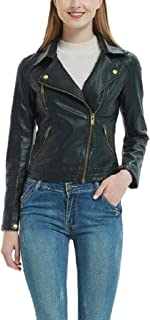 Howely Women's Classic Faux Leather Jackets Motorcycle Short Outwear Coat