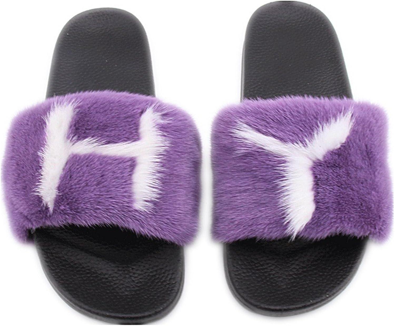 QMFUR Fashion Women's Real Mink Fur Slippers Soft Sole Flat (12, Black-Purple-1)