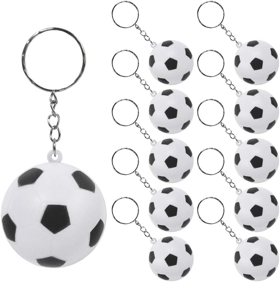 PROLOSO 20 Pack Soccer Keychains Foam Squeeze Ball Key Rings for