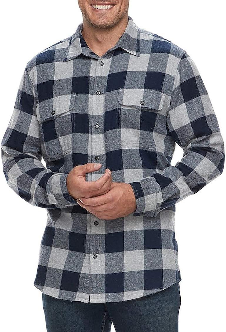 Sonoma Men's Super Soft Flannel Shirt Navy Grey Buffalo Big Tall