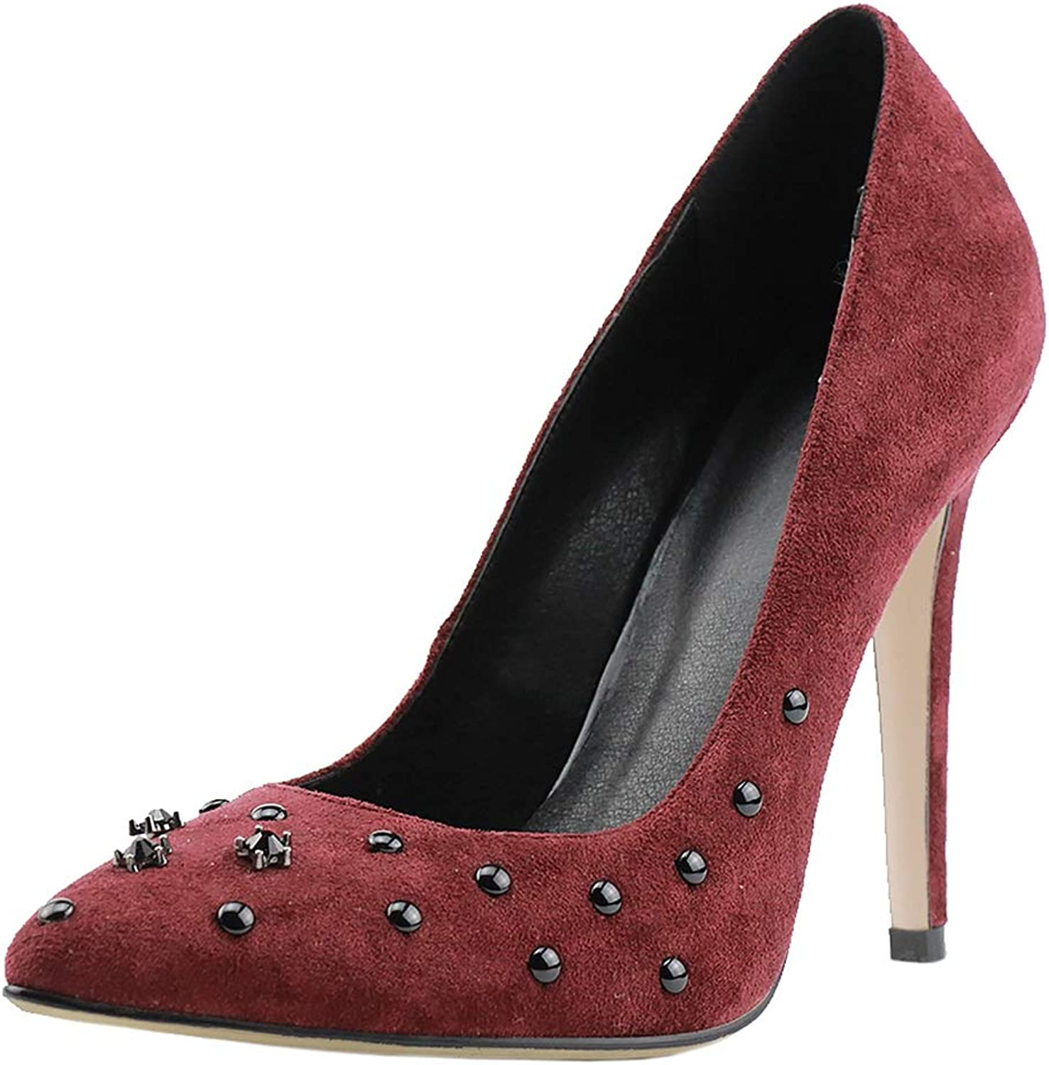 SaraIris Women's Thin High Heel Suede Wedding Party Fashion Studded Rivet Pointed Toe Dress Pumps shoes