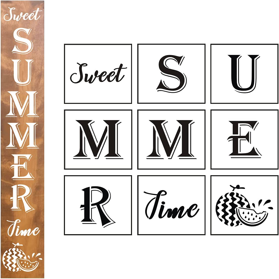Large Sweet Summer Time Stencil - 9 Pack Vertical Sweet Summer Time Sign Stencils Templates with Watermelon for Painting on Wood, Reusable Letter Stencils for Front Door Porch Wood Signs