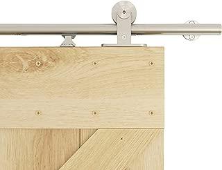 DIYHD 5FT Integrated Soft Close Sliding Hardware Brushed Stainless Steel Top Mount Studio Barn Door Style Track Kit