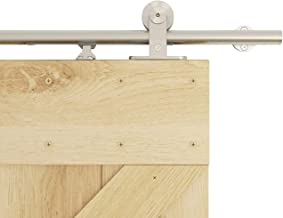 DIYHD 6.6FT Integrated Soft Close Sliding Hardware Brushed Stainless Steel Top Mount Studio Barn Door Style Track Kit