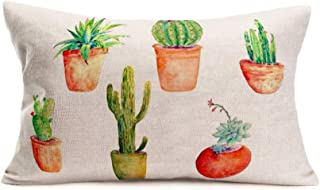 Hopyeer Summer Tropical Potted Plants Succulents Pillow Covers Bright-Colored Bonsai Cotton Linen Throw Waist Lumbar Pillow Case Cushion Cover Sofa Couch Decorative 12 X 20 Inches (SE Tropical)