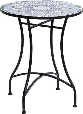 Outsunny Table Ronde Style Fer forgé Bistro Plateau mosaïque Motif Fleur métal époxy anticorrosion Noir céramique