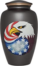 Grey Cremation Urn with American Flag and Bald Eagle - Funeral Urn for Human Ashes - Brass - Suitable for Cemetery Burial or Niche - Large Size for Adults up to 200 lbs - America Model