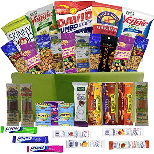 Healthy Snacks Care Package Gift Basket - 32 Health Food Snacking Choices - Nurse Doctor Appreciation To Go - For Adults, College Students Gifts, Kids, Birthday Ideas - Thank You or Congratulations