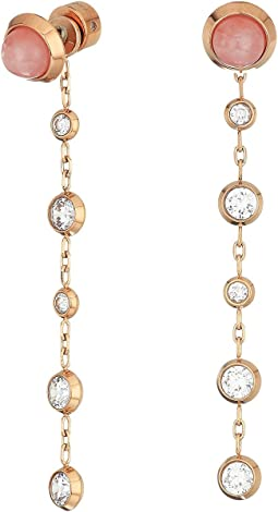 Dangling Chains Dotted with Crystal Earrings