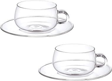 KINTO (キントー) カップ&ソーサー UNITEA ガラス 2個セット 8330