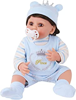 PURSUEBABY 16 inch Washable Reborn Baby Dolls Boy Full Body Silicone Baby Prince Jamie Real Life Baby Dolls Curly Hair for Children Collectors Gift with Magnetic Pacifier and Gift Box Set