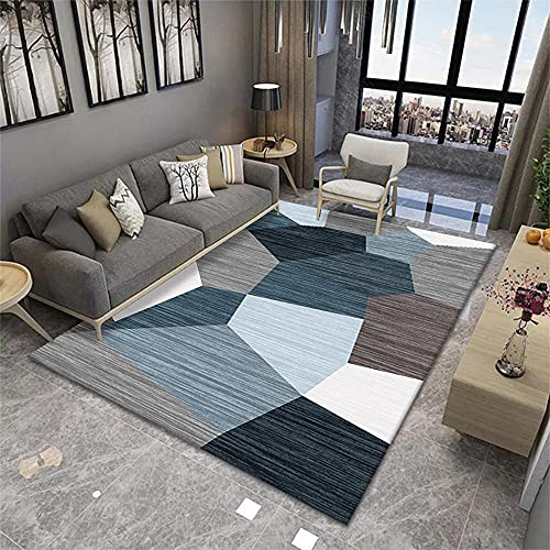Alfombra corredor niños dormitorio Accesorios azul gris blanco moderno minimalista geométrico diseño gráfico lindo escritorio decoración 50X80cm