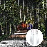 Lumières de Noël Meteor Shower Rain Lights 8 Tube 192 LED Étanche Falling Rain Fairy String Lights pour Halloween Christmas Holiday Party Home Patio Décoration extérieure, Blanc
