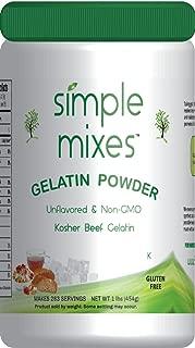 Simple Mixes Natural Unflavored Beef Gelatin Powder, Kosher, 1 Pound bulk