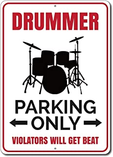 Emily Funny Tin Sign Drummer Parking Sign Drummer Gift Gifts for Drummers Drum Player Drum Wall Decor Boy Room Decor Band Décor Decorative Tin Sign Wall Art Decoration