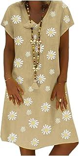 HEFASDM Women's Floral Loose Casual V-Neck Short Sleeve Midi Dresses