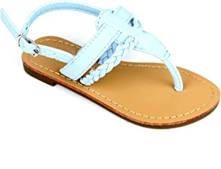 b70c00ec381e Bella Marie Girls Kids Braided T Strap Thong Gladiator Flat Flip Flops  Slipper Sandals