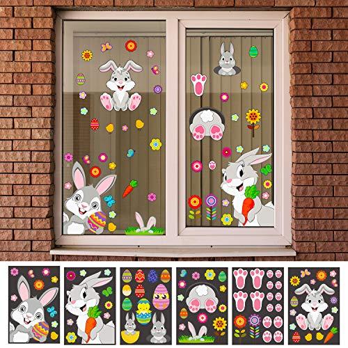 Outus 78 Stück Osterhasen Fensterdekoration Häschen Ostereier Fensteraufkleber sortierte selbstklebende Oster-Aufkleber für Zuhause Party Ornamente