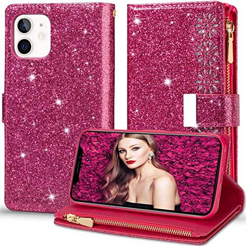 2Buyshop Custodia per Apple iPhone 12 5G Cover in Pelle 360 a Libro Portafoglio Glitter Silicone Cover iPhone 12 5G Case [7 Slot per Schede] Antiurto Originale Caso iPhone 12 5G Cassa