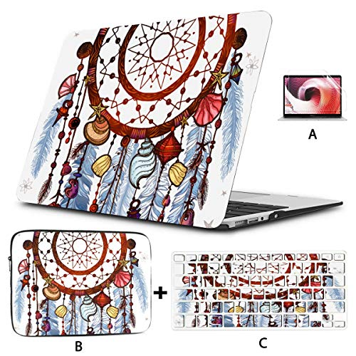 Cover Macbook Air Colored Bohemian Dreamcatcher Gemstones Feathers Macbook Accessories Case Hard Shell Mac Air 11'/13' Pro 13'/15'/16' With Notebook Sleeve Bag For Macbook 2008-2020 Version