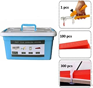 Hengmo 1/8'' (3MM) Fast Tile Leveling System Super KIT -300 pcs Tile Clips +100pcs Tile Wedges+1 pcs Tile Tool Plier+ with Blue Tool case, lippage Free Tile and Stone Installation for PROs&DIYs