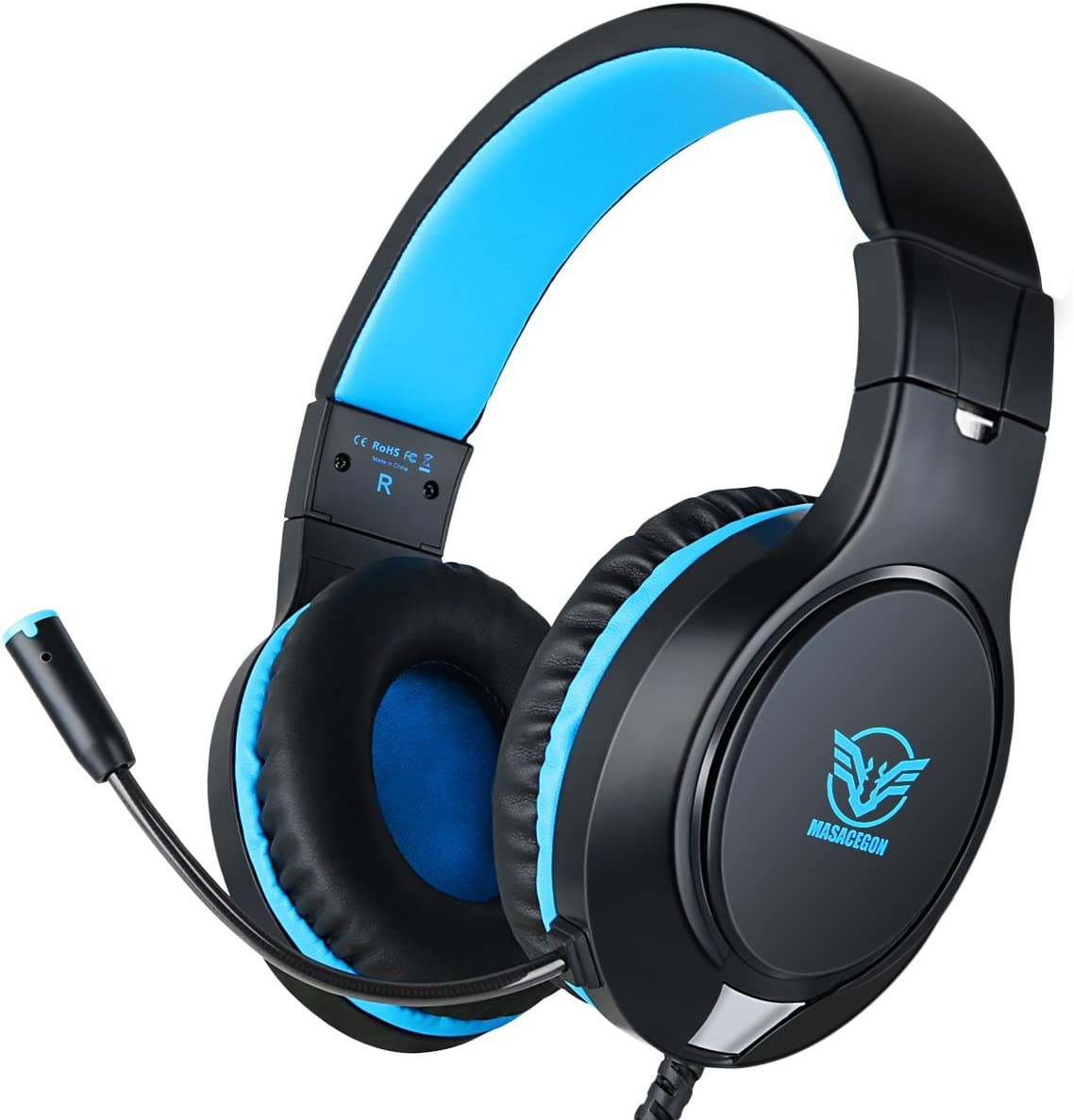 Gaming Headset for Xbox One, PS4,Nintendo Switch Bass Surround and Noise Cancelling with Flexible Mic, 3.5mm Wired Adjustable Over-Ear Headphones for Laptop PC iPad Smartphones (Blue-Black)