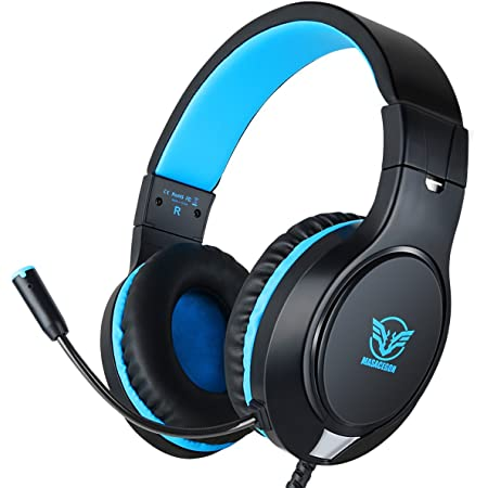 Gaming Headset for Nintendo Switch, Xbox One, PS4, PS5, Bass Surround and Noise Cancelling with Flexible Mic, 3.5mm Wired Adjustable Over-Ear Headphones for Laptop PC iPad Smartphones (Blue-Black)