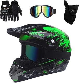 PKFG Mopedhelm Motocross Helm Herren, Serie HM-718 Motorradhelm Set Damen Fullface Motorrad DH Cross Offroad Enduro Mountainbike Helme mit Visier Brille Handschuhe Maske
