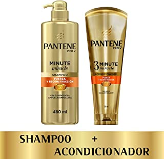 Pantene Two Pack Pantene Minute Miracle Fuerza Y Reconstrucción: shampoo 480ml + Acondicionador 3mm 170 Ml, color, 1 count, pack of/paquete de