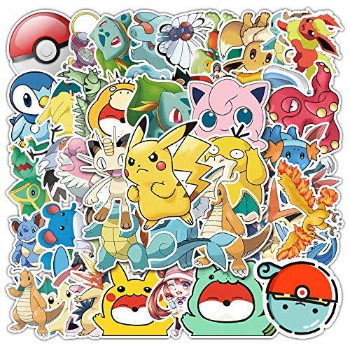LVLUO Pegatinas de Pokemon Pikachu, Pegatinas Decorativas de Fondo de Cuerpo de Cuaderno de Dibujos Animados con Personalidad de Moda, 50 Hojas
