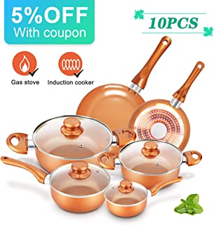 KUTIME 10pcs Cookware Set Non-stick Frying Pans Set Ceramic Coating Soup Pot, Milk Pot, Copper Aluminum Pan with Lid Gas Induction Compatible, 1 Year Warranty