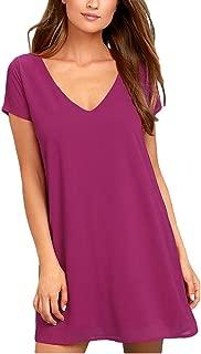 BomDeals Women's Spring Shift Dress, Cute Summer Short Sleeve V Neck Long Tunic Dress