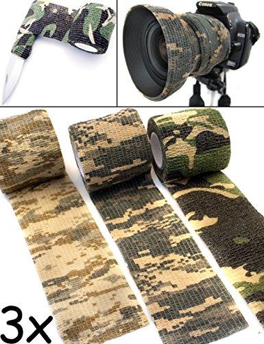 Outdoor Saxx® - Camouflage Tarn-Tape, Gewebe-Band, Tarn-Band, wasserfest mehrfach verwendbar, Kamera, Ausrüstung, Jäger, Angler, Fotografen, 4.5m, 3er Set