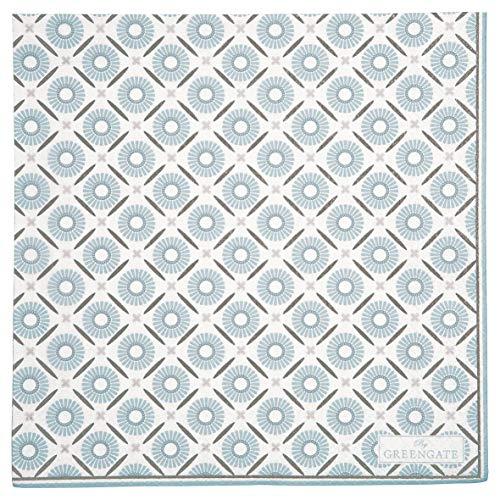 GreenGate Servietten ALVA Weiß Blau Groß 20 Stck 33x33 Papier Serviette
