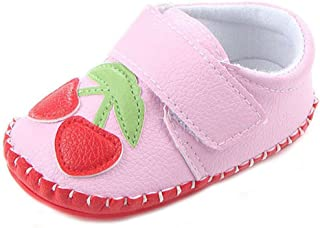 Lidiano Baby Non Slip Rubber Sole Cartoon Walking Slippers Crib Shoes Infant/Toddler (12-18 Months, Pink Cherry)
