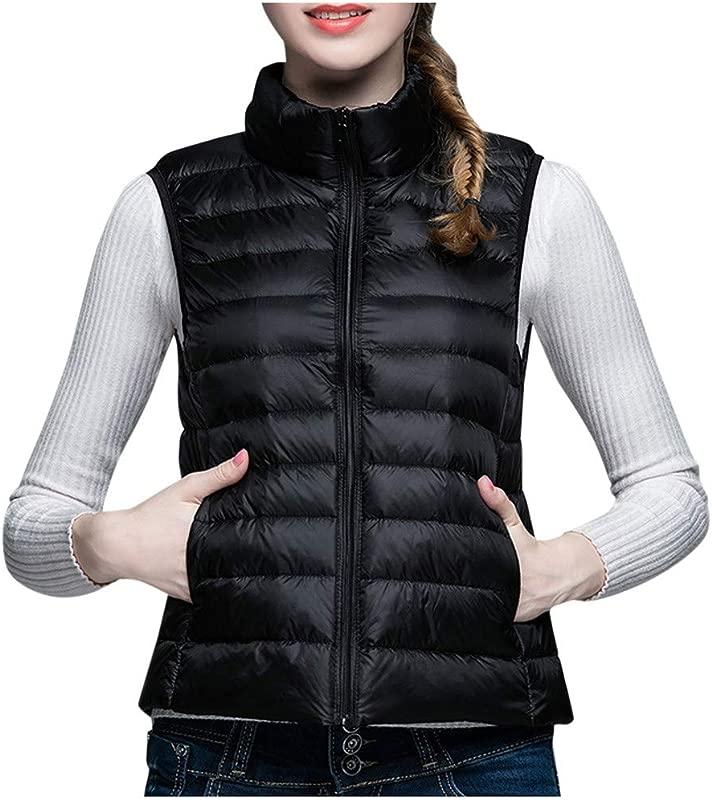 ZOMUSAR Ladies Vest Fashion Women S Standing Collar Short Paragraph Leisure Lightweight Down Vest