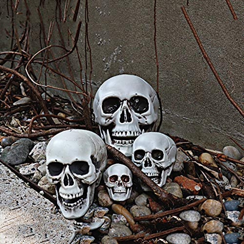 Find Bargain HBJP Multifunctional Halloween Skull Ornament Set Plastic Skull Decoration Statue Can Decorate Bars, Parties, Etc. 4 Pcs Gray