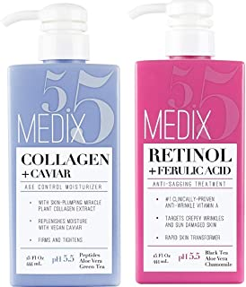Medix 5.5 Retinol Cream and Collagen Cream Set. Medix 5.5 Retinol Cream with Ferulic Acid targets Crepey Skin, Wrinkles and Sun Damaged Skin. Collagen Cream firms and tightens Sagging Skin. Two 15oz