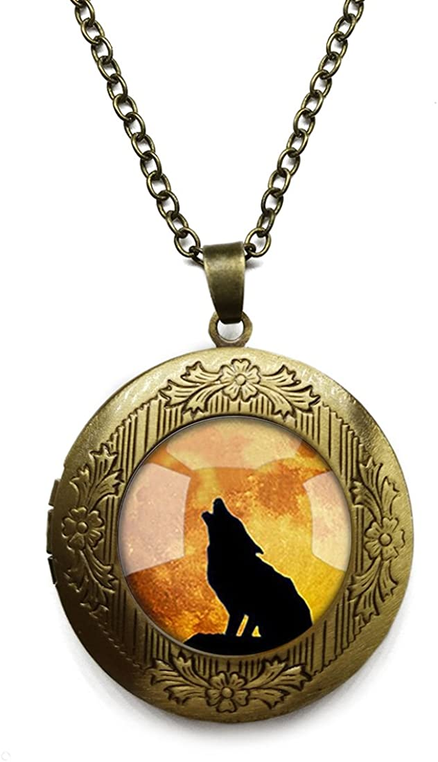 Vintage Bronze Tone Locket Picture Pendant Necklace Lone Wolf Included Free Brass Chain Gifts Personalized