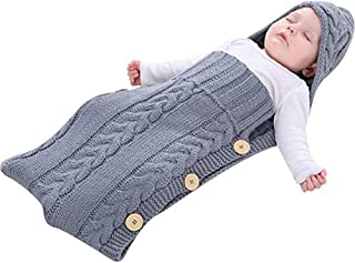 Miscoloor Newborn Baby Knitted Wrap Cute Swaddle Blanket Sleeping Bag for Baby 0-12 Months