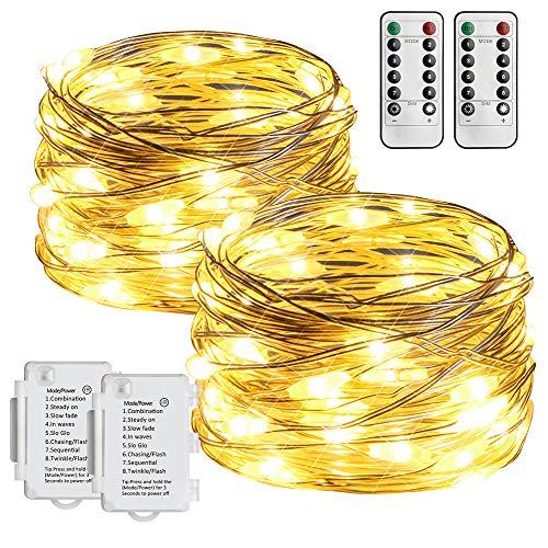 Starker 2Stk 5M 50er LED Silberdraht Lichterkette,Fernbedienung 8 Modi IP65 Wasserdicht Lichterketten,TIMER Batterie Lichterkette,für Hochzeiten und Partys,Weihnachten-Warmweiß